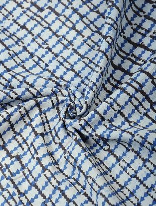 Indigo-Black Bagh-printed Cotton Fabric