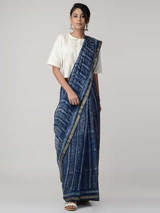 Indigo-White Dabu-printed Kota Silk Saree with Zari Border