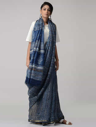 Indigo-White Dabu-printed Kota Silk Saree with Zari Border