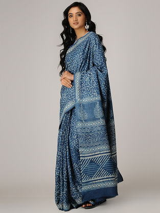Indigo-Ivory Natural Dyed Dabu-printed Tussar Silk Saree