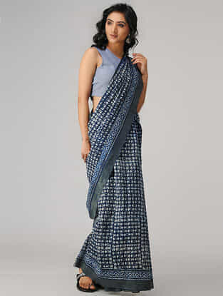 Indigo-Ivory Natural-dyed Dabu-printed Chanderi Saree