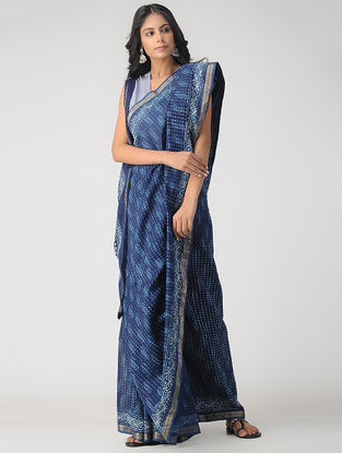 Indigo-Ivory Natural-dyed Dabu-printed Chanderi Saree with Zari