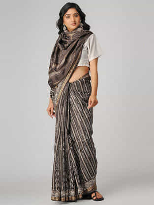 Kashish-Ivory Natural-dyed Dabu-printed Chanderi Saree with Zari