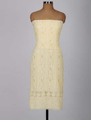 Yellow Chikankari Georgette Kurta Fabric with Mukaish