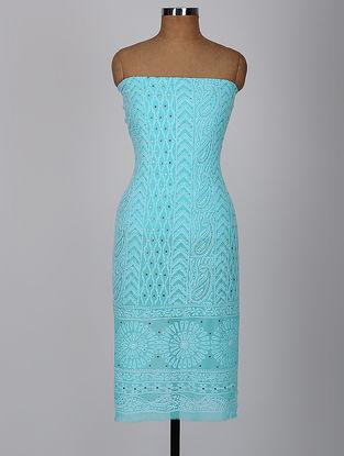 Blue Chikankari Georgette Kurta Fabric with Mukaish