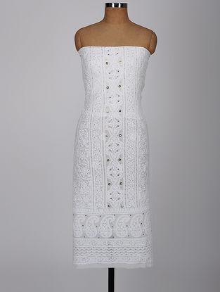 White Chikankari Georgette Kurta Fabric with Mukaish