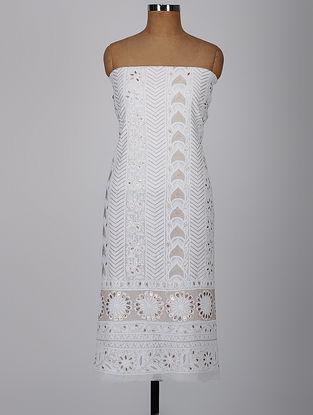 White Chikankari Georgette Kurta Fabric with Gota-patti and Aari Work