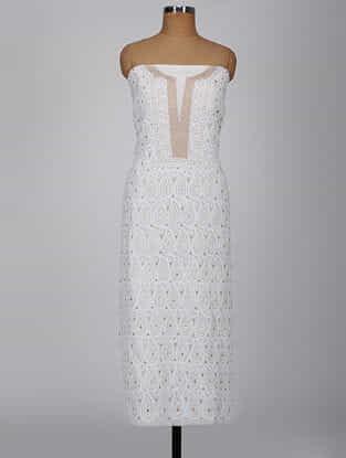 White Chikankari Georgette Kurta Fabric with Mirror and Aari Work