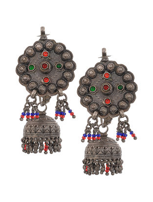 Red-Green Vintage Silver Jhumkis