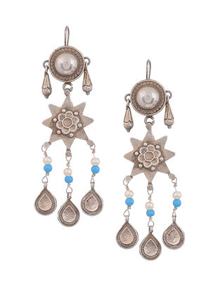 Blue Vintage Silver Earrings with Pearls