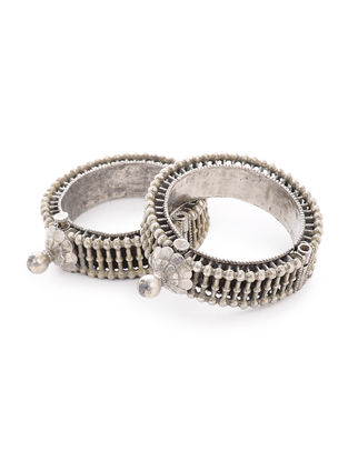 Tribal Hinged Opening Silver Bangles Set of 2 (Bangle Size -2/4)