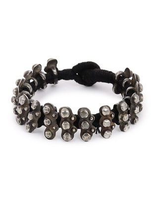 Black Thread Tribal Silver Bracelet
