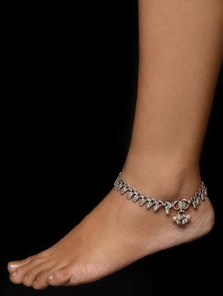 Tribal Silver Anklets with Paisley Design (Set of 2)