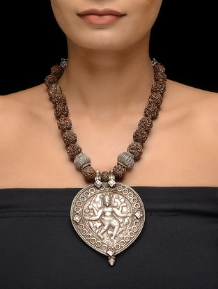 Rudraksh Beaded Tribal Silver Necklace with Deity Motif