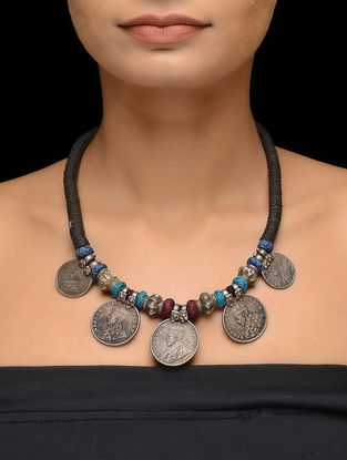 Black-Blue Thread Tribal Silver Necklace with Coins