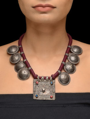Maroon Thread Tribal Silver Necklace