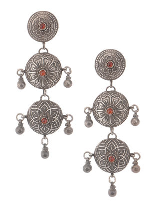 Red Vintage Silver Earrings with Floral Motif