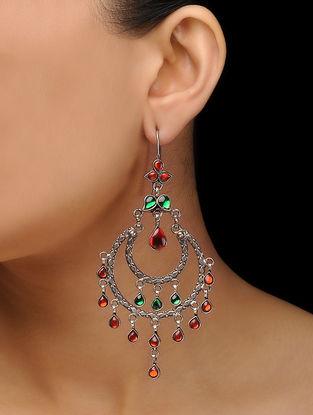 Red-Green Glass Silver Earrings