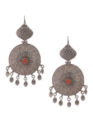 Red Vintage Silver Earrings
