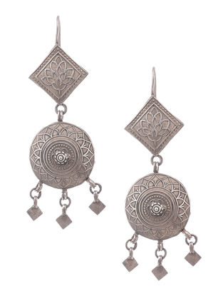 Vintage Silver Earrings with Floral Motif