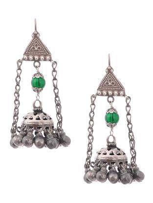 Green Vintage Silver Earrings