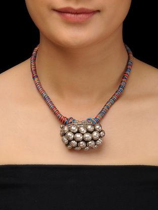 Multicolor Thread Vintage Silver Necklace
