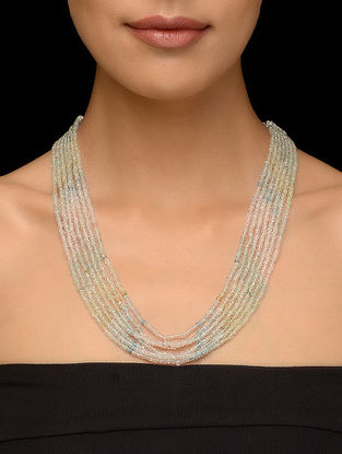 Aquamarine Beaded Multi-string Thread Necklace
