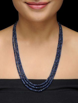Blue Sapphire Beaded Silver Necklace