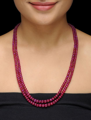 Ruby Beaded Thread Necklace