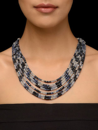 Blue Sapphire Beaded Multi-string Thread Necklace