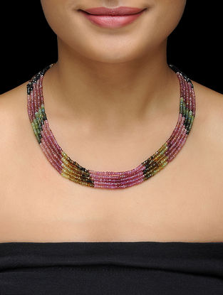 Tourmaline Beaded Multi-string Thread Necklace