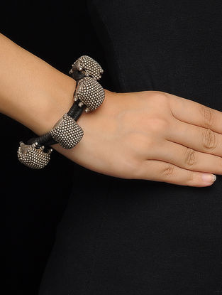 Black Thread Silver Bracelet