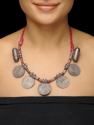 Pink Thread Tribal Silver Necklace