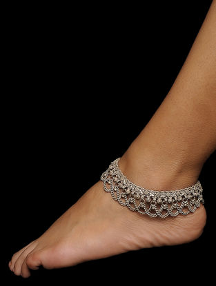 Tribal Silver Anklets (Set of 2)