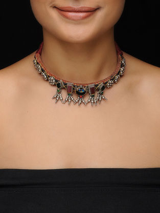 Red-Green Vintage Silver Necklace