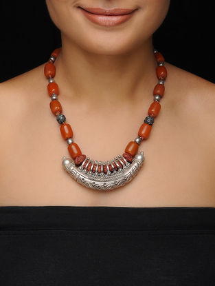 Red Beaded Vintage Silver Necklace