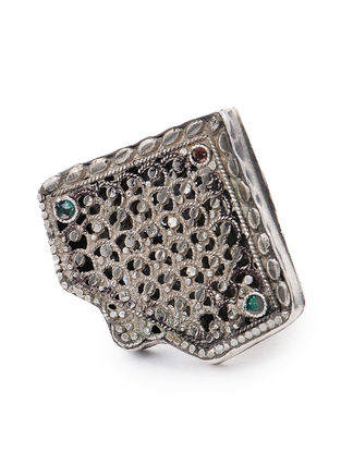 Red-Green Vintage Silver Ring (Ring Size -7)