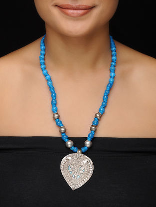 Turquoise Beaded Vintage Silver Necklace
