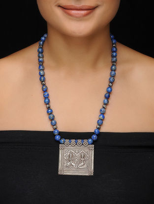 Lapis Lazuli Beaded Vintage Silver Necklace with Deity Motif