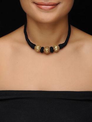 Black Thread Vintage Silver Necklace