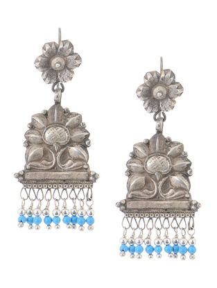 Turquoise Vintage Silver Earrings with Floral Motif