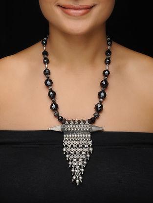 Garnet Beaded Vintage Silver Necklace