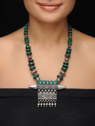 Malachite Beaded Vintage Silver Necklace