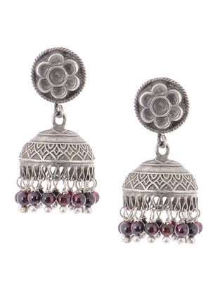 Garnet Vintage Silver Jhumkis with Floral Design