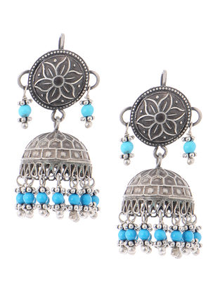 Turquoise Vintage Silver Jhumkis