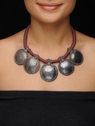 Maroon Thread Vintage Silver Necklace