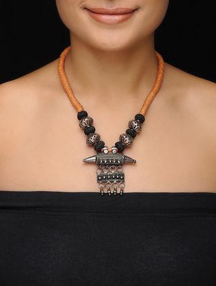 Orange-Black Thread Vintage Silver Necklace