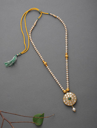 South Sea Pearl Beaded Gold Necklace with Polki and Emerald