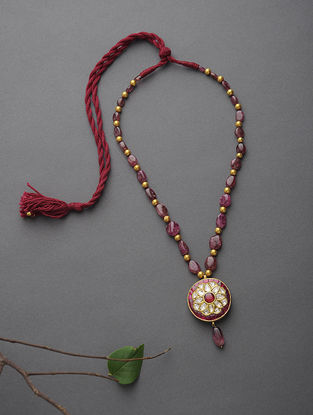 Ruby Beaded Polki Gold Necklace