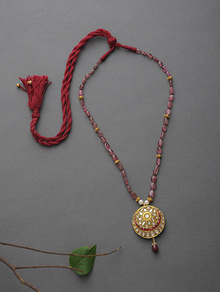 Ruby Beaded Polki Gold Necklace with Pearls